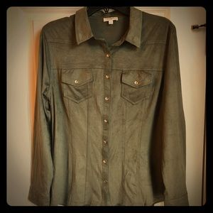 Umgee Faux Suede Blouse